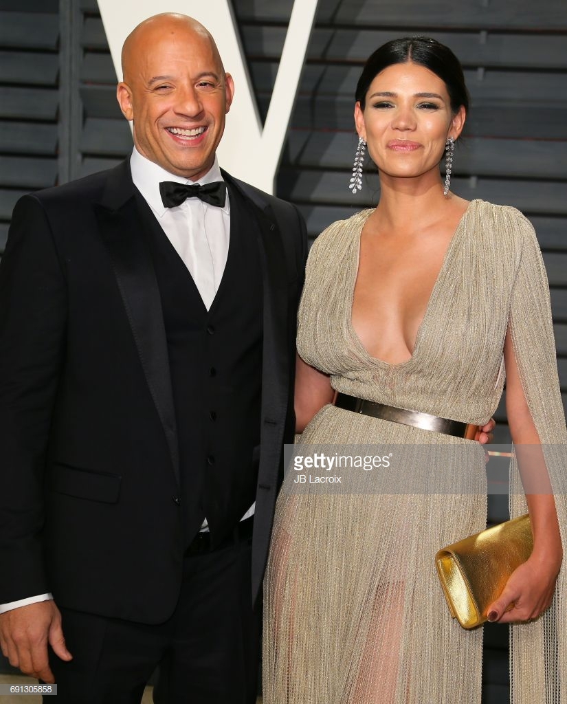 Vin Diesel and Paloma Jimenez attend the 2017 Vanity Fair Oscar Party hosted by Graydon Carter