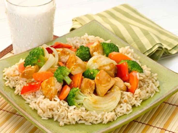 rice, veggies and fruits