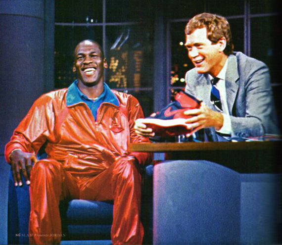 Jordan on the Letterman show, talking about his new shoes