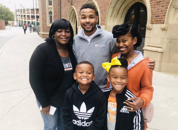Johnson with his family