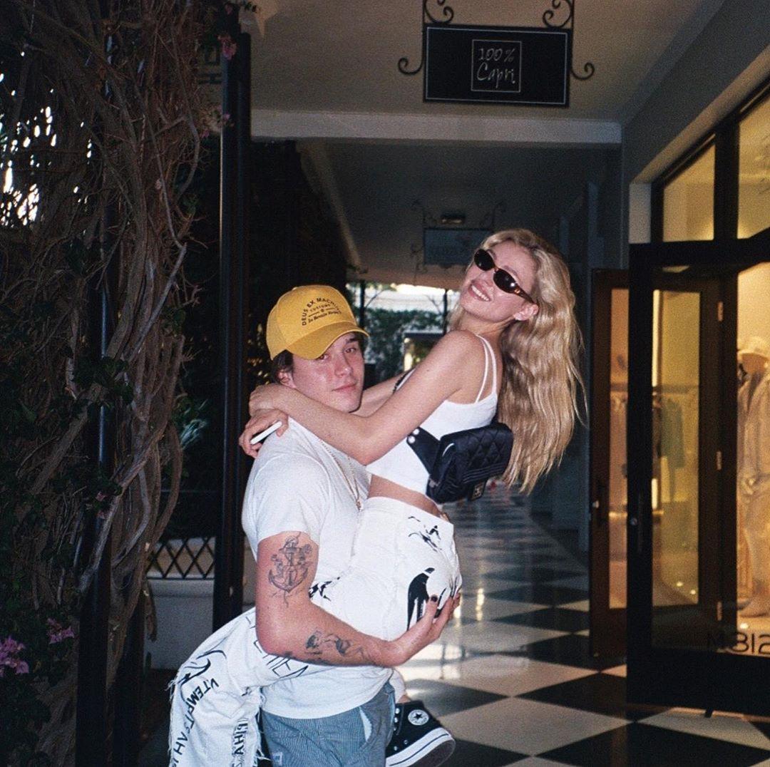 Peltz with her boyfriend Brooklyn Beckham