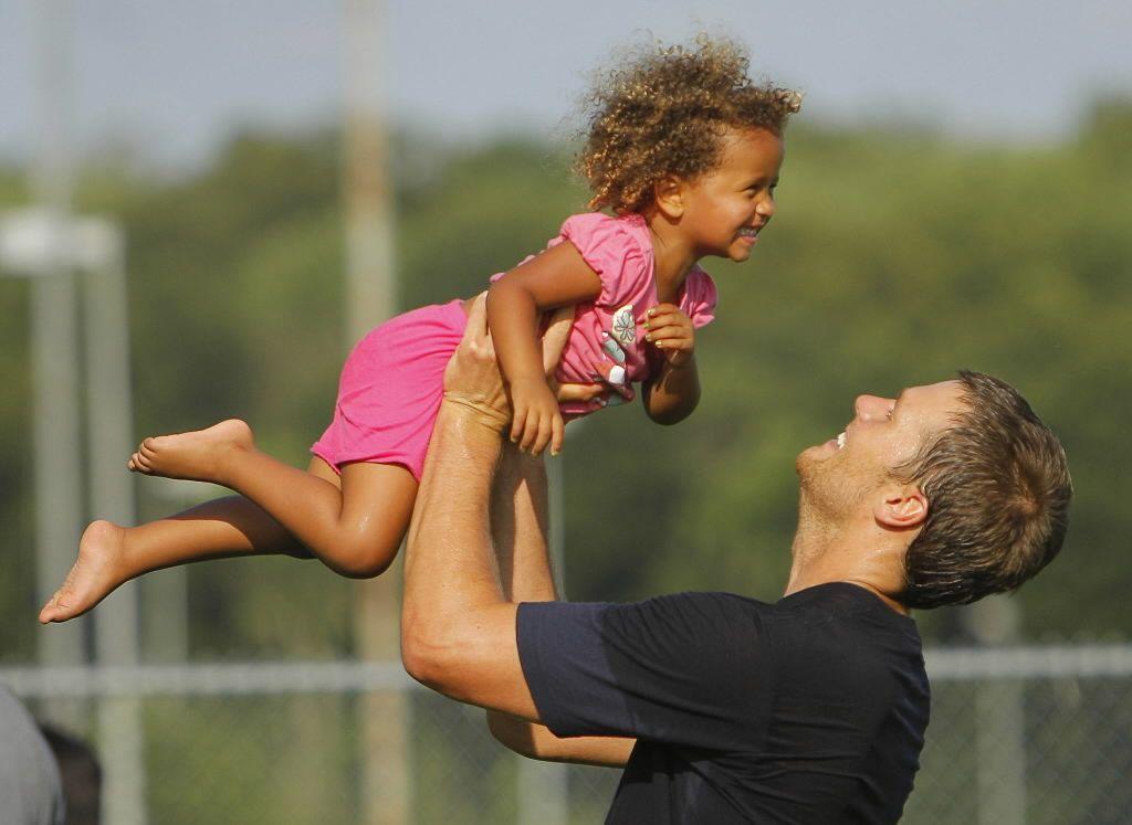 Child Maya Brady with Tom Brandy
