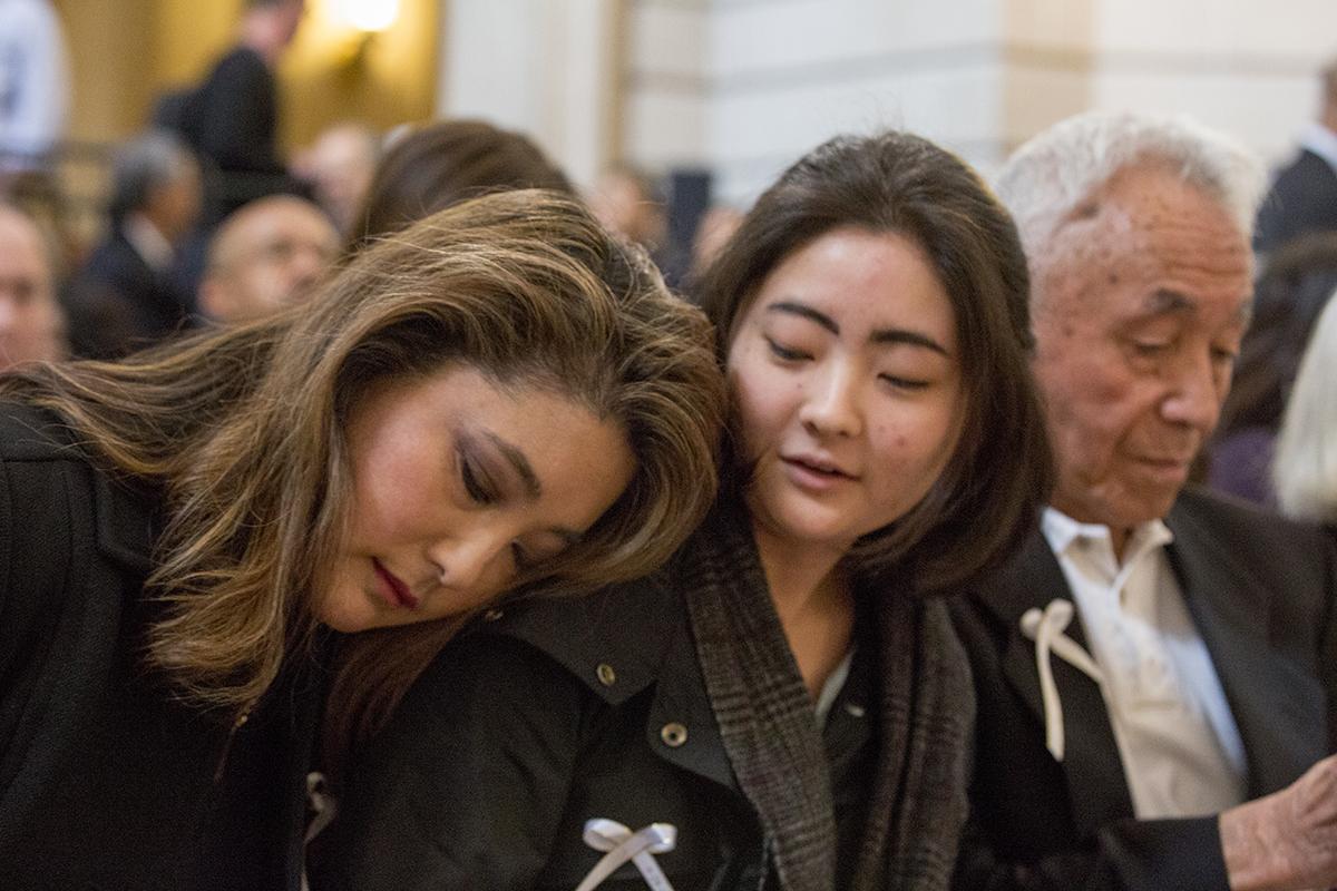 Mutsuko Adachi with her daughter