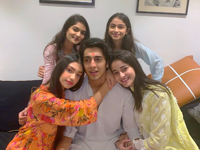 Panday with her cousin sister and sibling brother