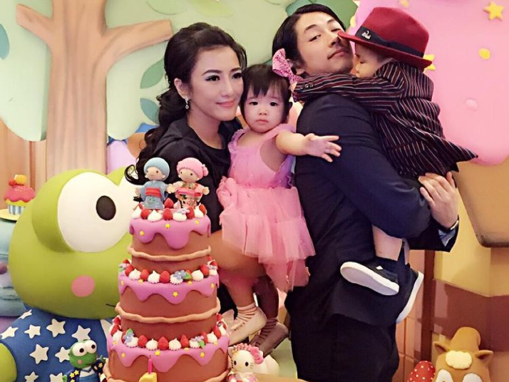 Dean Fujioka with his wife and twins