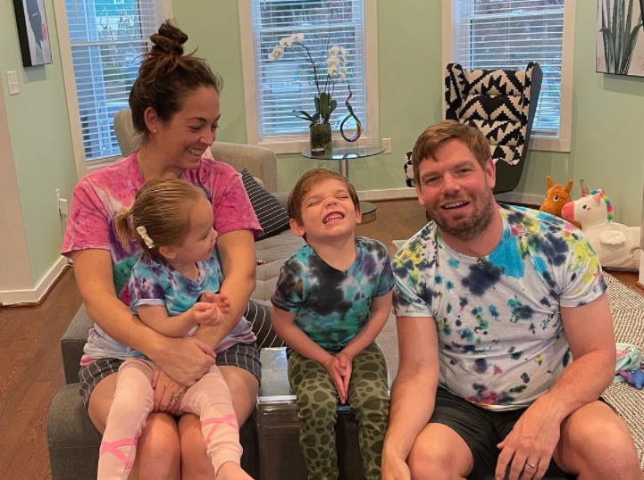 Eric Swalwell with his wife and kids
