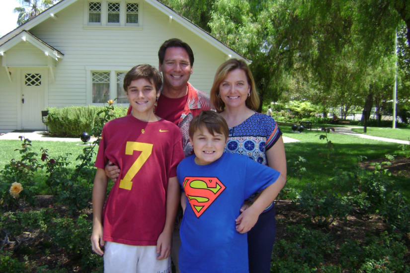 Kelli with her husband and sons