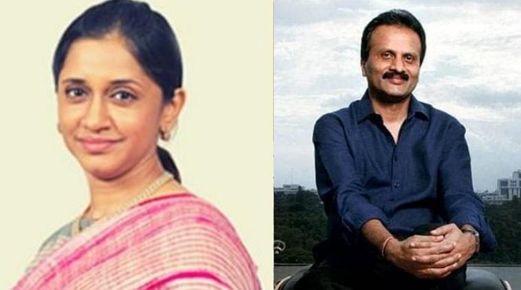 VG Siddhartha and wife Malavika